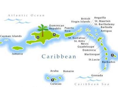 Map Of The Caribbean Caribbean Islands Pinterest Caribbean - Carribean islands map