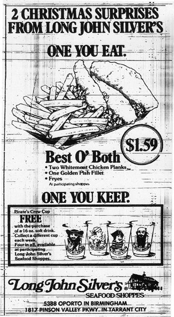 Thanksgiving just isn't the same without deep-fried breading with a thin sliver of fish-of-unknown-parentage in the middle. BIRMINGHAM REWOUND remembers November 1977 #LongJohnSilvers #LJS #fastfood #restaurant #print #ad