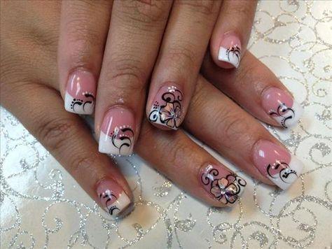 Fingernail Design White Tips French Tips W Black Lines Cute Flower Nail Art Gal French Tip Nail Designs White Tip Nail Designs Cute Acrylic Nail Designs