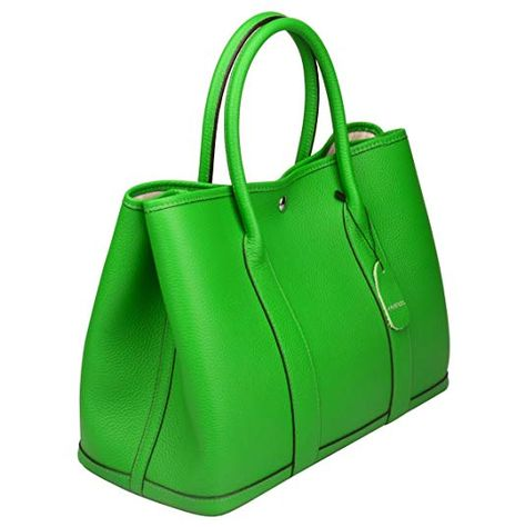 Ainifeel Women s Genuine Leather Top Handle Handbag Shopping Bag Tote Bag  (Bamboo green) d4af6933e0c62