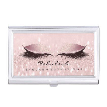 Beauty Lashes Makeup Artist Gold Pink Rose Glam Business Card