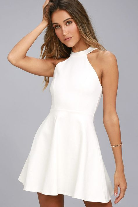 3315e3512 Take the girl next door look up a notch with the Hometown Girl White Lace Skater  Dress! This sexy stretch knit dress has a high halter neckline, ...