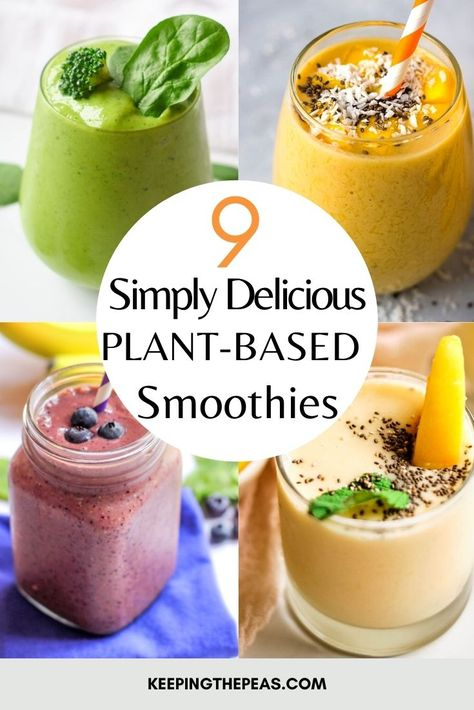 These simple and healthy plant-based smoothie recipes are easy to make! They're tasty, delicious, and full of healthy vitamins and nutrients to keep you going all morning long! They make for an excellent breakfast or snack, and use all whole food plant-based ingredients!