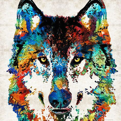 Colorful Wolf Animal Art Print From Painting Primary Colors Etsy Arte De Lobos Arte De Mascotas Produccion Artistica