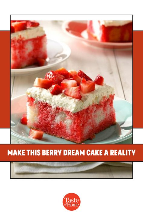 I use cherry gelatin to give a boxed cake mix an eye-appealing marbled effect. It's so festive-looking. Top it with whatever fruit you like! —Margaret McNeil, Germantown, Tennessee