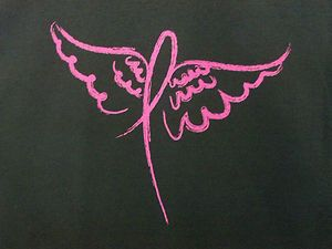 pink ribbon breast cancer shirts   Pink Ribbon w Angel Wings Breast Cancer Awareness Item Support Tee s ...