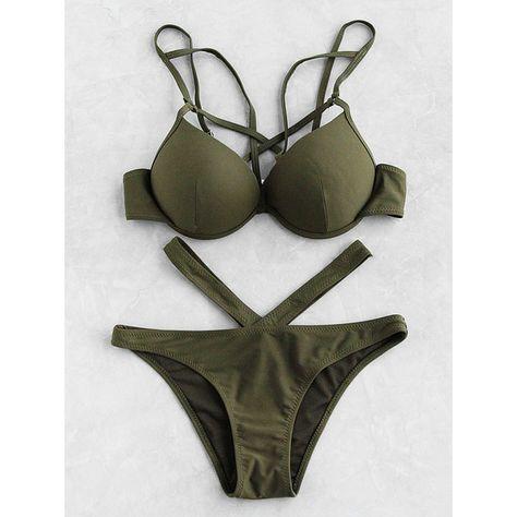 e3d7eb6d59a2a Cutout Front Bustier Bikini Set (22 BAM) via Polyvore featuring swimwear,  bikinis, army green, push up swim wear, cut-out bikinis, olive green bikini,  olive ...