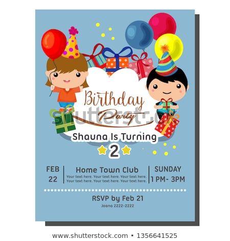 Cute Cartoon 2nd Birthday Party Invitation Card With Cute Kid Birthday Invitation Kids Birthday Party Invitations Free Birthday Stuff 2nd Birthday Parties