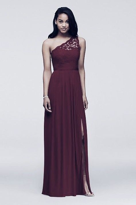 2475756d66d Cool Amazing Davids Bridal One Shoulder Lace Long Bridesmaid Dress WINE Sz  20 PROM Homecoming 2017-2018