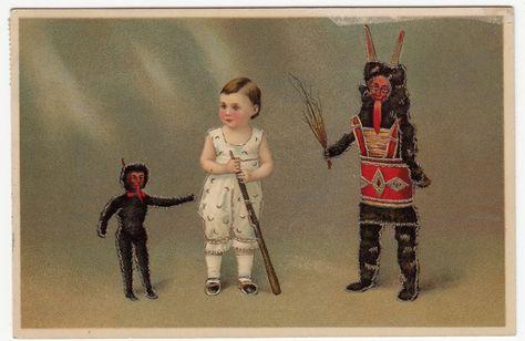 Orig. Vintage Krampus, Christmas raised postcard 1915