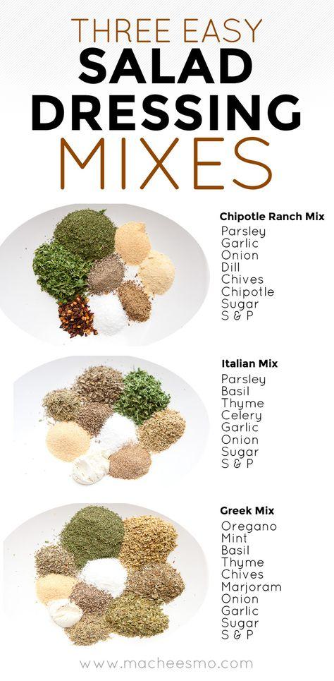 Three Homemade Salad Dressing Mixes ~ Macheesmo