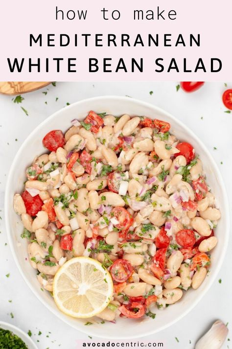 This Mediterranean vegan white bean salad recipe is healthy, simple, and also easy to make! In addition, it's gluten-free, customizable, made from canned beans and perfect for meal-prep or summer weeknight dinners and lunches! This lemony vegan salad is perfect to enjoy by itself, as a side dish or bring to a potluck. Light and refreshing for summers but full of flavors with cherry tomato. This cold white bean salad can be made ahead of time! #whitebeansalad #mediterraneanwhitebeansalad #vegan