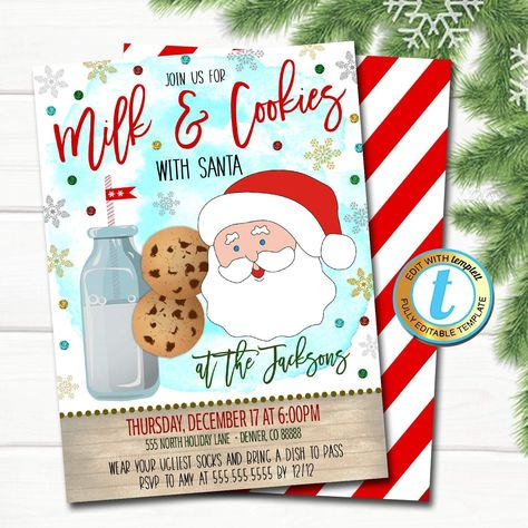 Milk and Cookies Christmas Party Invitation, Kids Xmas Birthday Invite Holiday Santa Cookie Exchange Decorating Party DIY  Template