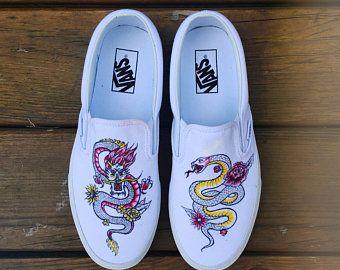 Custom Hand-painted Sunflower Vans Slip-On Shoes   Etsy