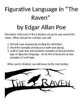 The Raven By Edgar Allan Poe Figurative Language Station Annotation Activity Figurative Language Literature Lesson Plans American Literature Lessons