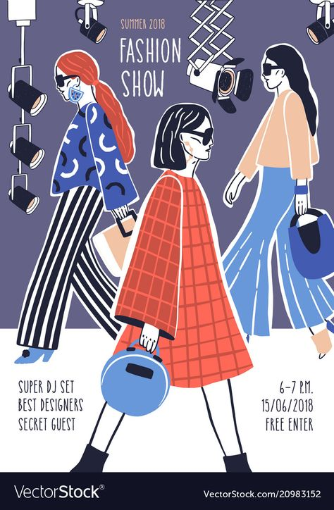 Creative flyer or poster template for fashion show with models wearing stylish haute couture clothes walking along runway or doing catwalk. Hand drawn vector illustration for event promotion. Download a Free Preview or High Quality Adobe Illustrator Ai, EPS, PDF and High Resolution JPEG versions.