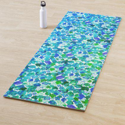 Watercolor Falling Leaves Blue Green Leaf Pattern Yoga Mat