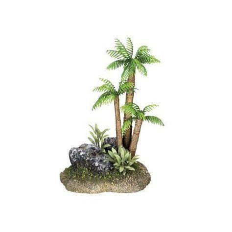 Set of 2 Plastic Palm Tree Plant Underwater Aquarium Ornament