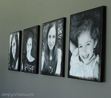 adding pictures to canvas! super easy using modpodge!! Im doing this with pics of wyatt for the bathroom!!: