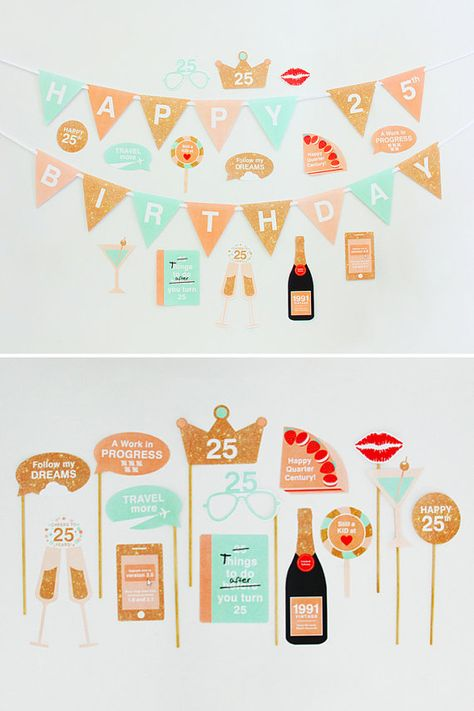 25th Birthday Party Decorations 25th Photo by CreativeSenseCo