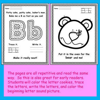 Patty Cake Upper And Lower Case Letter Practice Activity Book