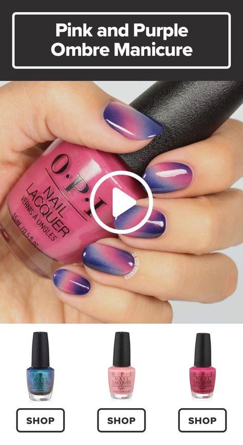 Pink and Purple Ombre Manicure Tutorial #darbysmart #beauty #nailpolish #nailart