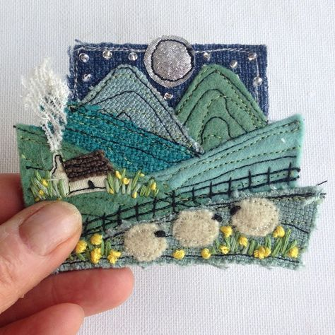 Stitched Fiber Art Natural Dyes Wall Hanging Hand Embroidered A-8