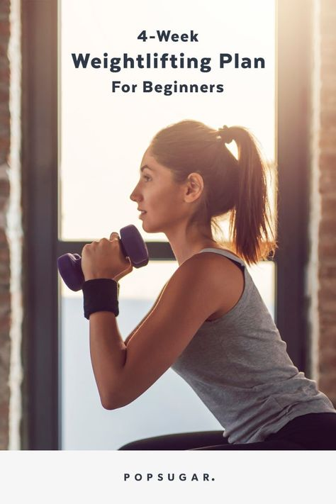 Learn How to Lift Weights (and Build Muscle) With This 4 Week Beginner Workout Plan Forme Fitness, Body Fitness, Fitness Tips, Fitness Exercises, Health Fitness, Stomach Exercises, Fitness Planner, Wellness Fitness, Health Diet
