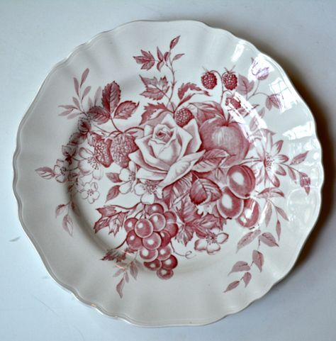 Vintage Red & White English Transferware Plate Bouquet of Roses Cherries Grapes Apples Flowers Raspberries