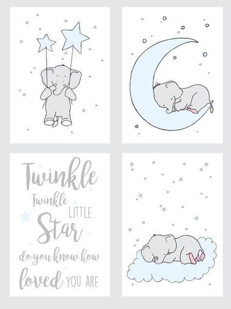 Elephant Set Printable Blue Nursery Wall Art,Twinkle Stars Moon Nursery Blue Decor.Elephant Boys Nur