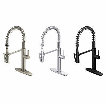 Water Ridge Seaton Brushed Nickel Pull Out Kitchen Faucet Water