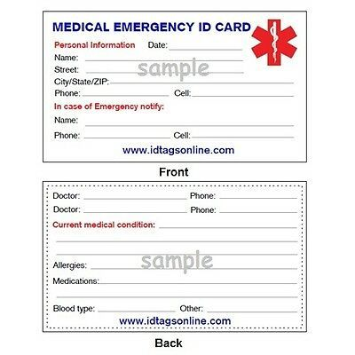 Details About Medical Emergency Wallet Card For Medical