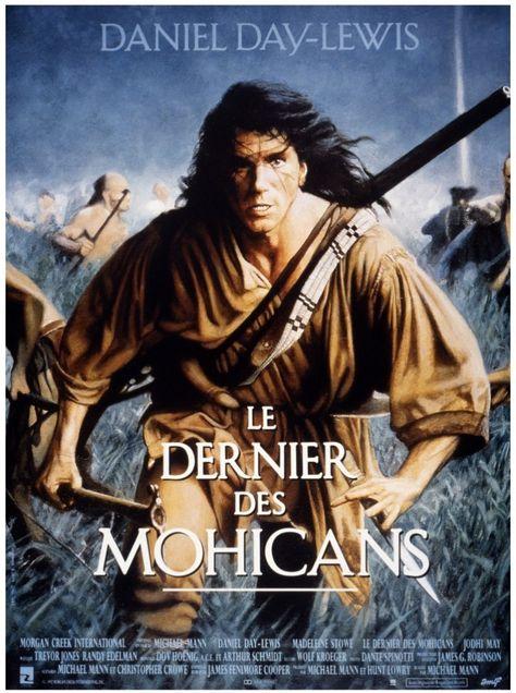 Le dernier des Mohicans (1992) de Michael Mann avec Daniel Day-Lewis et Madeleine Stowe. En 1757 dans l'État de New York, alors que la guerre fait rage entre Français et Anglais pour l'appropriation des territoires indiens, un jeune officier anglais, Duncan Heyward, est chargé de conduire 2 sœurs, Cora et Alice Munro jusqu'à leur père. Ils sont sauvés d'une embuscade par Hawkeye, un frontalier d'origine européenne, élevé par le Mohican Chingachgook et son fils Uncas. Les 3 hommes acceptent…
