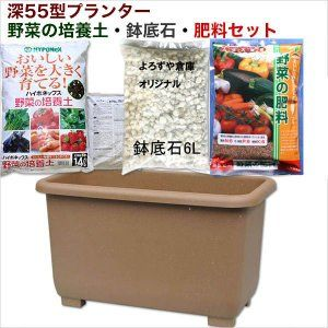 エコエコウインプランター深55型野菜の培養土 鉢底石 肥料セット 培養土 家庭菜園 ベランダ 鉢
