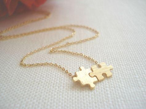 Collier or puzzle... minimaliste dainty bijoux par blueJboutique7