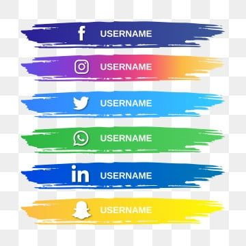 Popular Social Media Logo And Watercolor Brush Strip Logo Clipart Social Icon Png And Vector With Transparent Background For Free Download Social Media Icons Free Vector Icons Free Free Icon Set