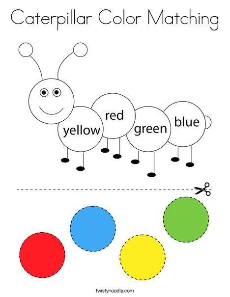 Caterpillar Color Matching Coloring Page Twisty Noodle Kids Worksheets Preschool Preschool Color Activities Color Worksheets For Preschool Preschool matching coloring preschool