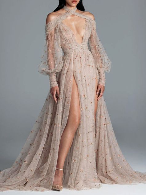 Long Sleeve Floor-Length See-Through Pullover Fall Dress – Store Fall Dresses, Elegant Dresses, Pretty Dresses, Beautiful Dresses, Prom Dresses, Formal Dresses, Wedding Dresses, Fantasy Gowns, Fairytale Dress