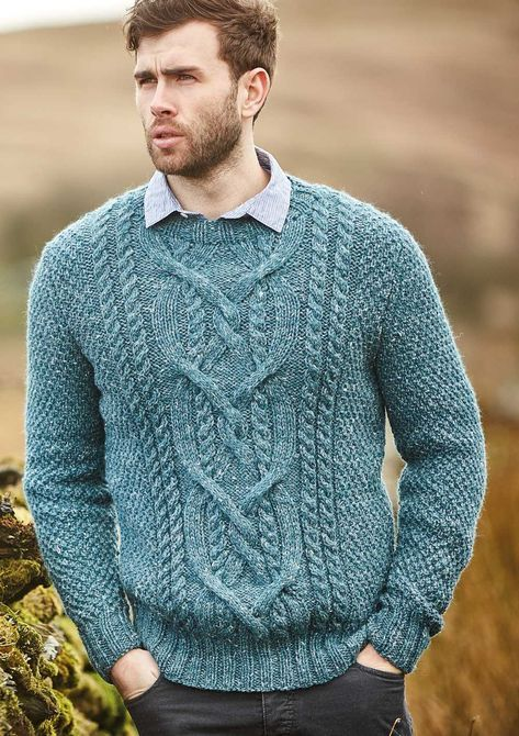 Free Knitting Pattern for a Men's Cabled Sweater Cole   Men