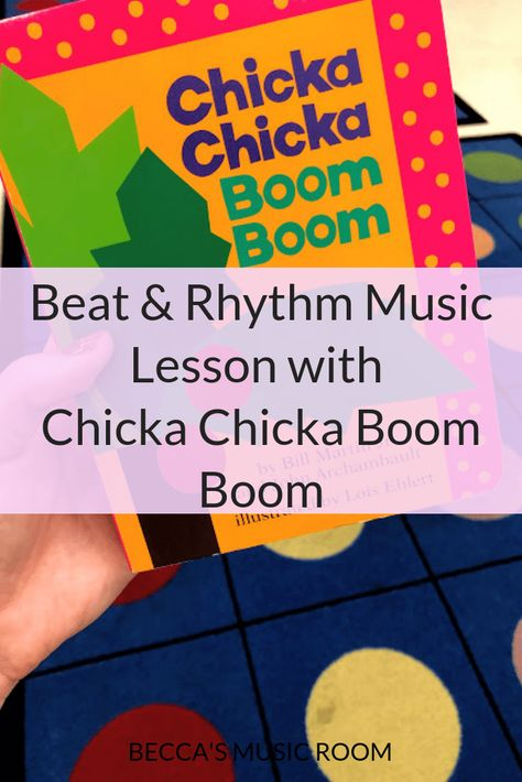 Chicka Chicka Boom Boom: Beat and rhythm lesson - Becca's Music Room Looking for a fun music lesson based on a book? My first graders loved playing instruments along with the rhythms from Chicka Chicka Boom Boom! Kindergarten Music Lessons, Elementary Music Lessons, Music Lessons For Kids, Music Lesson Plans, Teaching Music, Music Teachers, Elementary Schools, Music For Kids, Elementary Library
