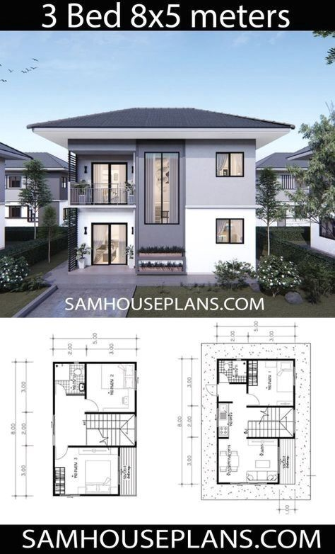 House Plans Idea 8x5 With 3 Bedrooms Samhouseplans House Construction Plan Model House Plan Two Storey House Plans
