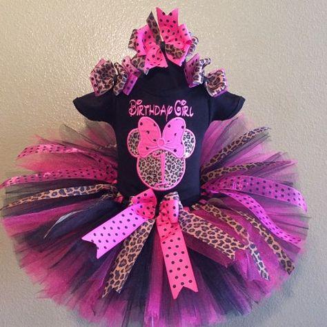 3a47e9960da5 Girls+HBB+Hot+Pink+and+Black+Minnie+Silhouette+Leopard+Birthday +Number+Tutu+Set