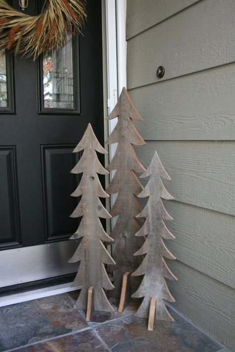 Rustic Wooden Trees Set of Three Handmade from by Mosermade, $80.00