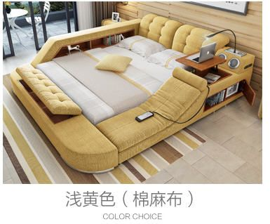 Europe And America Fabric Cloth Bed Massage Modern Soft Beds Home