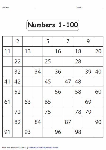 1 100 Fill In The Blank Worksheet Kindergarten Worksheets Kindergarten Math Worksheets Math Worksheets