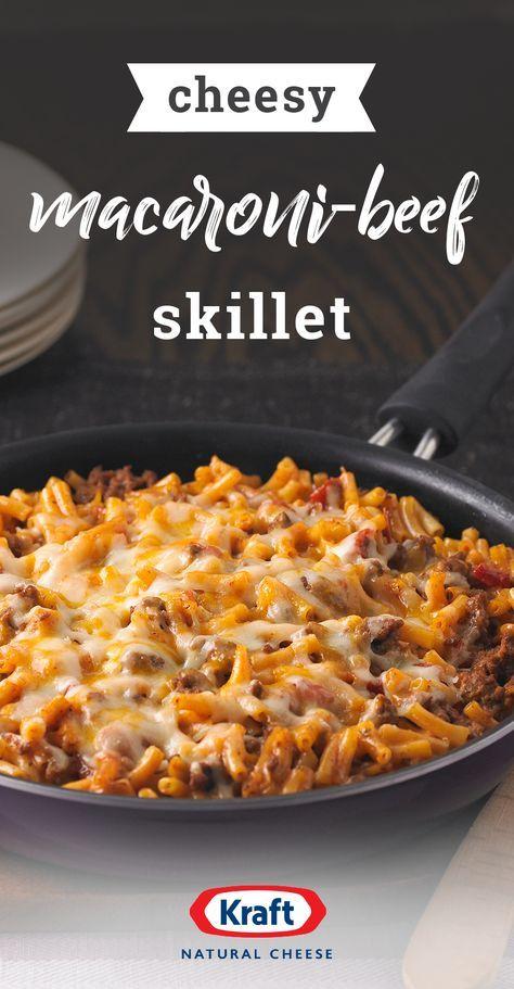 Cheesy Macaroni Beef Skillet Recipe Kraft Mac And Cheese Recipe Cheesy Macaroni Kraft Dinner Recipes
