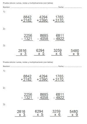 Prueba Sumas Restas Y Multiplicaciones Por Una Cifra Ejercicios De Calculo Prueba De Multiplicación Multiplicacion