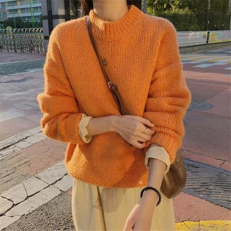 Aachoae Sweater Women 2020 Autumn Winter Solid O Neck Pullover Sweaters Korean Style Knitted Long Sleeve Jumpers Casual Tops - One Size / Orange