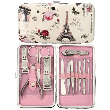 12pcs Pedicure Manicure Set Nail Cuticle Clippers Cleaner Tool Grooming Kit With Case Manicure Set Manicure And Pedicure Pedicure Kit