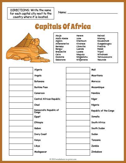 Free Capitals Of Africa Geography Worksheet With Images